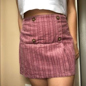 Pink Button Corduroy Mini Skirt